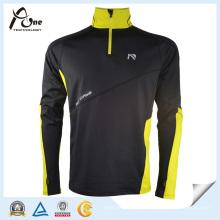 Homem preto cor 1/4 Zip Pullover Fitness Wear