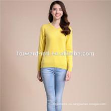 venta caliente estilo clásico mujer suave cashmere v cuello pullover