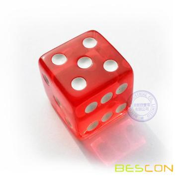 "3/4"" Red Transparent straight 19MM plastic casino size Dice"