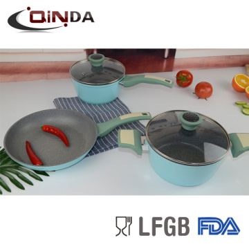 5er geschmiedeter Marmor Beschichtung Silikon Griff Aluminium Kochgeschirr Set