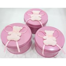 Round Candle Tin Box with Bear Decoration