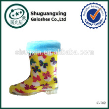 бабочка дождь сапоги дети желтый цветок обувь C-702