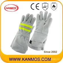 Светоотражающие защитные перчатки ручной работы из сварных материалов с натуральной кожей (11123)