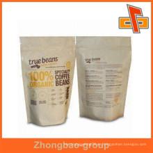 Hecho en China material de embalaje bolsa de papel de la tapa de la cremallera del grado de alimento con la impresión de la insignia para los granos de café
