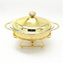 Prato decorativo extravagante do alimento de alta qualidade do bufete / aquecendo por atrito com o ouro revestido