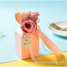 Pink wedding candy box with flower