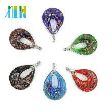 MC0002 Colgante de cristal de murano de Milefiori gota hecha a mano para mujeres collar de artes y artesanías collar hecho a mano de la joyería