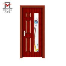 Largement utilisé porte d'entrée en bois en acier respectueux de l'environnement de qualité garantie