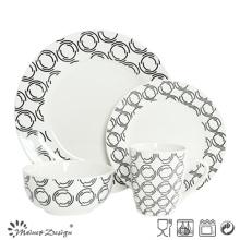 Ensemble de dîner en porcelaine 16PCS avec design d'impression en carton
