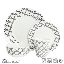 16PCS Porcelain Dinner Set with Decal Printing Design