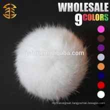 2015 Handmade Fur Accessories On Wool Hat Fashion Wholesale Cute Real 8cm white Rabbit Fur Ball fur pompons
