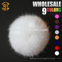 2015 Acessórios de pele artesanal em moda de chapéu de lã atacado Bonito Real 8cm de pele de coelho branco Fur fur pompons