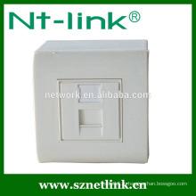 Заводская цена 80 * 80 мм односторонняя лицевая панель для cat6 / cat5e с нижним ящиком, подходит для гнезда модуля