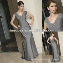 V-necklace Detail Around Neckline and Waist Side Mother of Bride Dresses