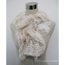 Ladies Fashion Polyester Lace Scarf with Pearls (YKY4383B)