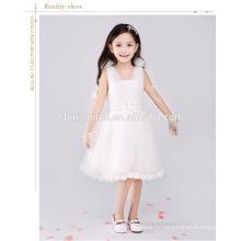 Couleur blanche spaghetti bracelet fleur fille robe boule gwon tutu anniversaire robe 1 an old girl