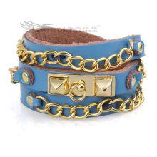 Bracelets en cuir à chaîne longue de 60 cm avec design multicouches pour hommes, Bracelets en cuir Bohemia