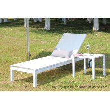 Pátio Outdoor Chaise Lounge Chair com roda, alumínio Mesh Fabric Sling para o Hotel Pool Beach Lawn Deck