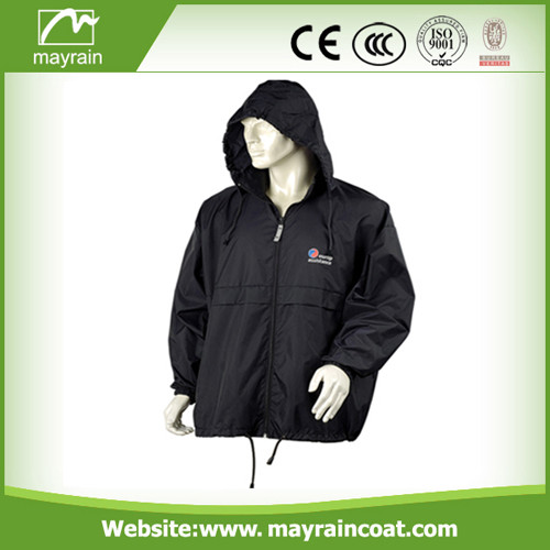 Black Polyester Adult Rain Jacket