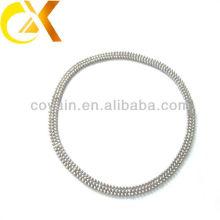 Delicado regalo de acero inoxidable joyas de plata mujeres collar de cuentas