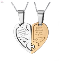 Chinese Couple Love Fashion Pendant, Custom Jigsaw Engraved Couple Heart Pendant