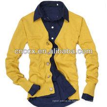12STC0724 V-Ausschnitt gelbe Strickjacke für Männer