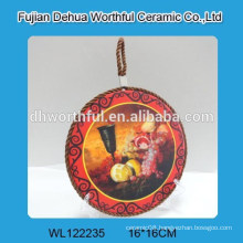 Hot selling round ceramic pot holders with lifting rope