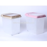 10kg transparent pet food container with wheels