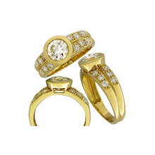 Cheap Silver Ring in China with CZ Stone Plating Gold
