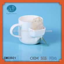 Taza con el bolsillo de la galleta, taza con el sostenedor del bolso de té / la taza del bolsillo, taza de té de cerámica con el sostenedor del bolso del té