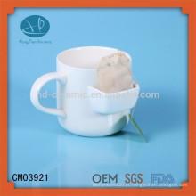 Caneca com bolso de biscoito, caneca com suporte de saco de chá / caneca de bolso, caneca de chá de cerâmica com suporte de saco de chá