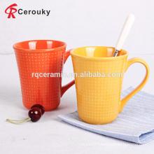 Custom solid color ceramic embossed mug