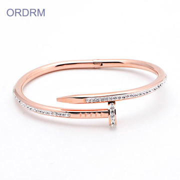 Berlian imitasi Stainless Steel Rose Gold Nail Bangle Bracelet