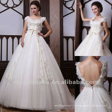 Marvelous Applique Ball Gown Scoop Organza Cape Sleeves Bow Chapel Train Wedding Dress Bridal Gown