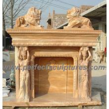 Cheminée extérieure pour maçonnerie en marbre (QY-LS147)