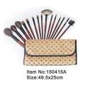 15pcs plastic handle animal hair makeup brush tool set with print canvas hand case