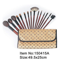 15pcs plastic handle animal hair makeup brush tool set with print canvas hand case