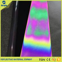 Tela de cuero reflectante arco iris / iridiscente