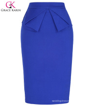 Grace Karin Women's High Stretchy Hips-Wrapped Vintage Retro Blue Pencil Skirt CL010454-3