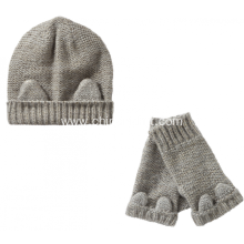 Beanie Hat and Handwarmer with ear