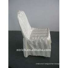 polyester chair cover with stripe,CT499 ivory/beige/cream color,banquet chair cover,250GSM best quality