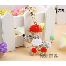 Creative poodle dog Keychain men and women bag hanger chain new crystal rhinestone metal keychain with enamel wholesale