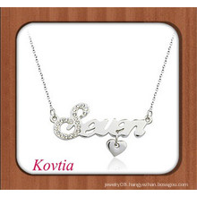 Personalized white gold plated initial letter pendant necklace