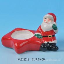 Candelabro de cerámica encantadora Santa de la Navidad