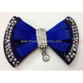 Hot-Sell Fabric Flower Bowknot Shoe Clips with Hot-Fix Rhinestone and Fashion Alloy Buckle Pendant Trimming