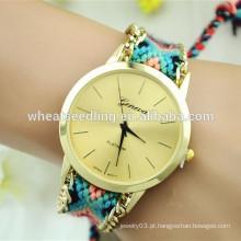 Mais novo estilo étnico DIY tecido pulseira senhoras cadeia relógio de mão