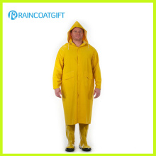 PVC/Polyester Long Yellow Raincoat with Detachable Hood