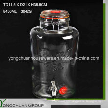8L Big Clear Cone Glass Jar and Glass Lid with/Without Metal Stand Clip Jar with Faucet