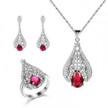Горячие продажи 925 серебряных ювелирных изделий с драгоценными камнями
