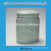 Elegant ceramic sugar canister with dragon figurine